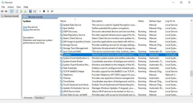 Windows 10: SysMain Causing High Disk or High CPU Usage