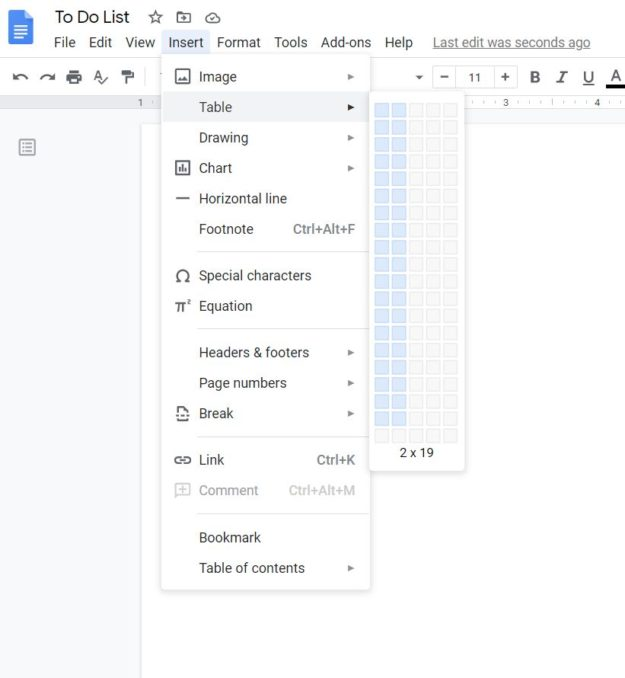 To do List Google Docs - Creation