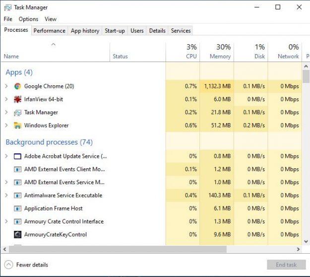 Task Manager CPU