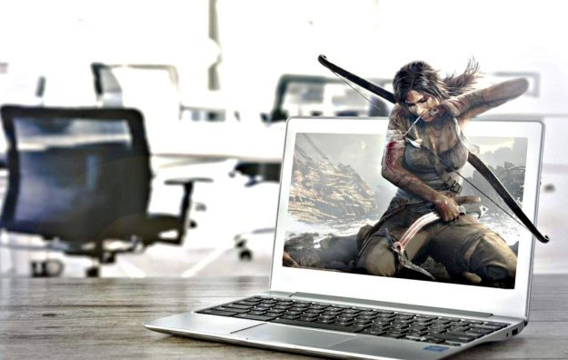 gaming on a laptop