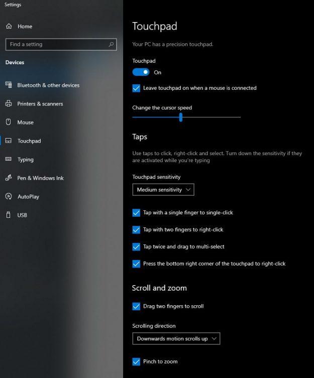 touchpad sensitivity settings